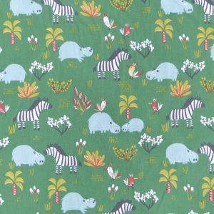 Tissu coton imprimé hipps motifs animaux de jungle idéal pour des rideaux enfants, couleur vert