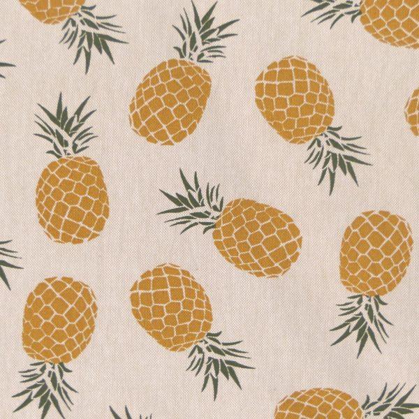 Tissu toile coton imprimé demi natté motif queen couleur lin ocre