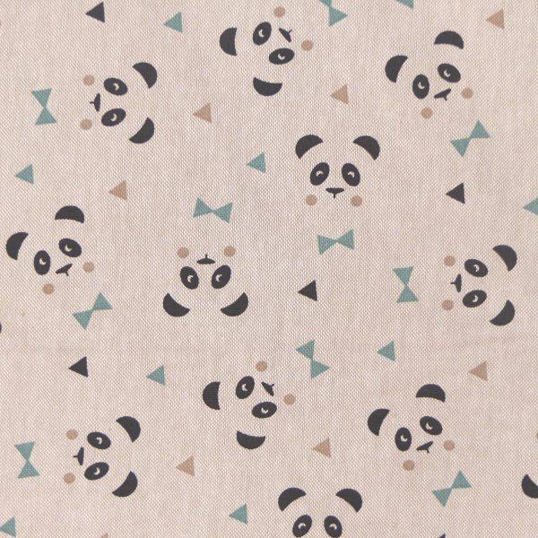 Tissu toile coton imprimé demi natté motif maony couleur lin sauge