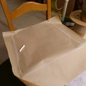 Gabarit tracé, il nous servira à tailler les pièces de tissus nécessaire pour réaliser les galettes de sièges