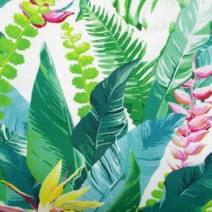tissu toile transat special chaise longue chilienne motifs exotiques végétaux fleurs colorées