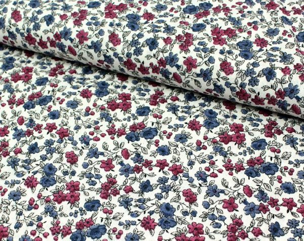 tissu coton fin LEONIE imprimé fleurettes fond écru