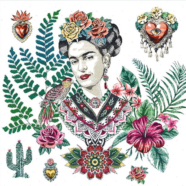 carré tapisserie 45*45cm motif Frida kahlo Mexico Feuiilages exotiques