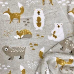 Tissu polaire fantaisie motif animaux de la foret renards et ours couleur gris, blanc, jaune moutarde et vert