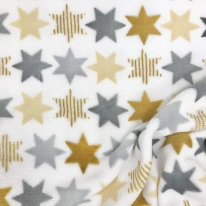 Tissu polaire fantaisie motif étoiles couleur gris, blanc, jaune moutarde et vert
