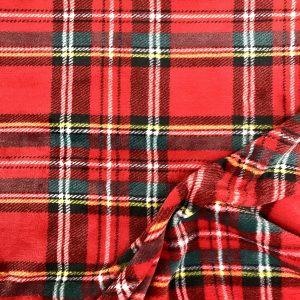 Tissu polaire fantaisie motif kilt écossais carreaux couleur rouge