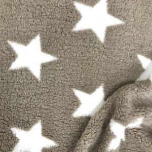 Tissu polaire fantaisie motif étoile couleur taupe et blanc
