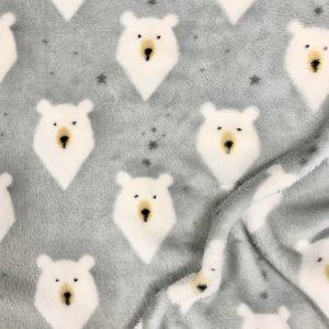 Tissu polaire fantaisie motif ours couleur gris