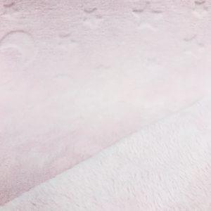 Tissu polaire fantaisie uni et motifs lunes et étoiles couleur rose