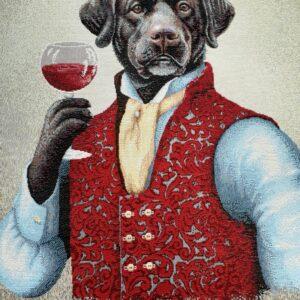 face de coussin en tapisserie motif portrait de labrador