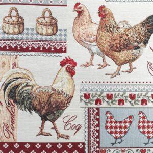 face de coussin en tapisserie motif poules et coqs