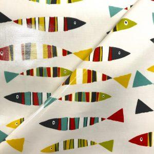 toile coton panama épaisse traitée PVC pour nappage motifs poissons