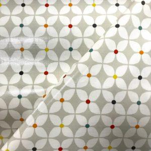 toile coton panama épaisse traitée PVC pour nappage motifs Fleurs stylisées coloris Lin