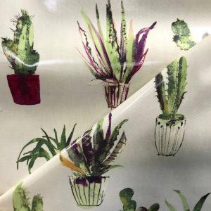 toile coton panama épaisse traitée PVC pour nappage motifs Cactus