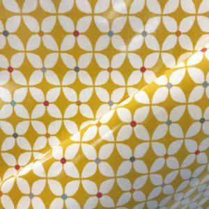 toile coton panama épaisse traitée PVC pour nappage motifs fleurs moutarde