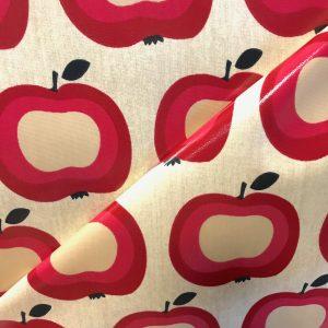 toile coton panama épaisse traitée PVC pour nappage motifs Pommes Rouges