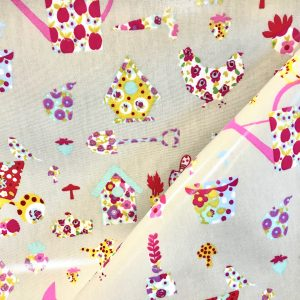 toile coton panama épaisse traitée PVC pour nappage motifs Brouettes fleuries