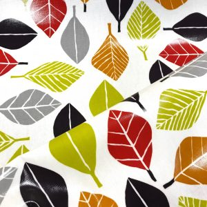 toile coton panama épaisse traitée PVC pour nappage motifs feuillages colorés