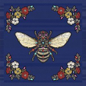face de coussin motif QUEEN BEE col BLEU - 45*45 cm
