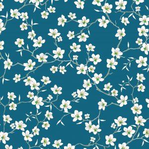 tissu coton imprimé REF amandier coloris bleu vendu par 10cm