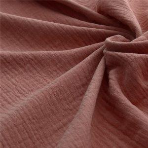 adorable tissu double gaze unie légèrement froissée en coton