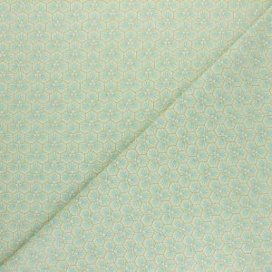 tissu cretonne en coton imprimé garanti Oeko-Tex REF RIAD coloris VERT EAU pour toutes vos créations textiles et DIY