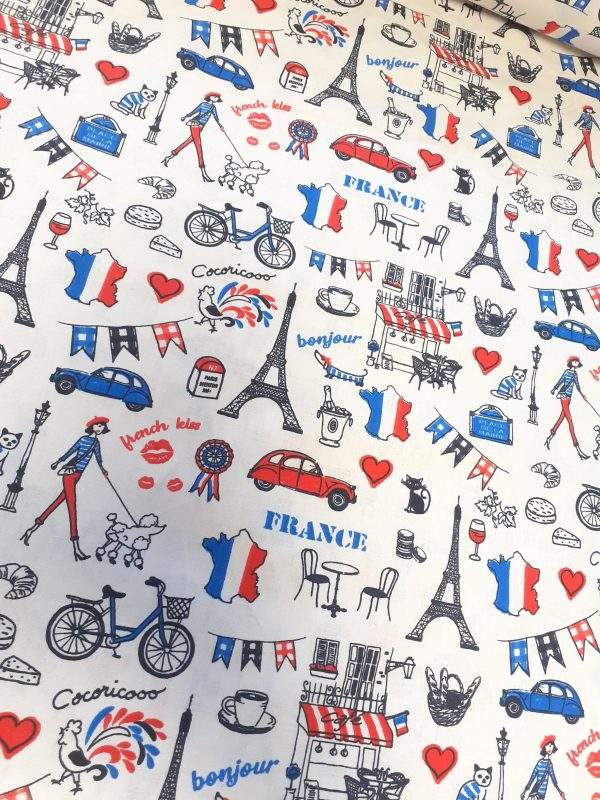 tissu coton fin imprimé MADE IN FRANCE coloris bleu/blanc/rouge