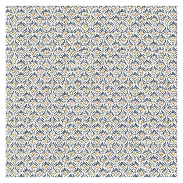 tissu coton fin imprimé BEAUCAIRE ECAILLES BLEUES