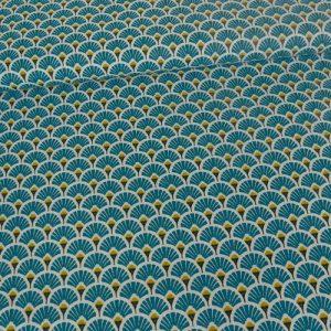 tissu cretonne en coton imprimé garanti Oeko-Tex REF EVENTAILS coloris FORET pour toutes vos créations textiles et DIY