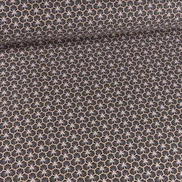 tissu cretonne en coton imprimé garanti Oeko-Tex REF RIAD coloris NOIR pour toutes vos créations textiles et DIY