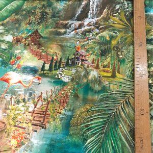 MADAGASCAR MULTICOLORE Dimension des motifs du tissu ameublement 100% Toile Coton serré en grande largeur 280cm / panoramique paysage exotique avec singes, oiseaux tropicaux et montgolfière
