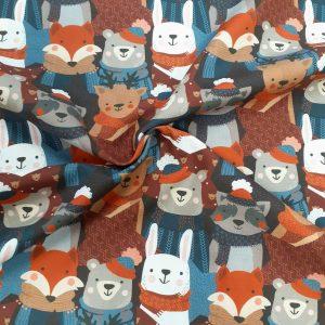 tissu coton imprimé BIO et OEKOTEX motifs enfantin avec animaux
