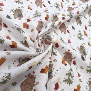 tissu coton imprimé BIO et OEKOTEX motifs NOEL / détails fond blanc