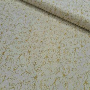 tissu coton imprimé BIO et OEKOTEX motifs NOEL ECRU ET OR