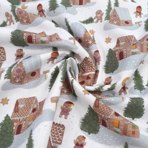 tissu coton imprimé BIO et OEKOTEX motifs NOEL GINGERBREAD/ fond blanc