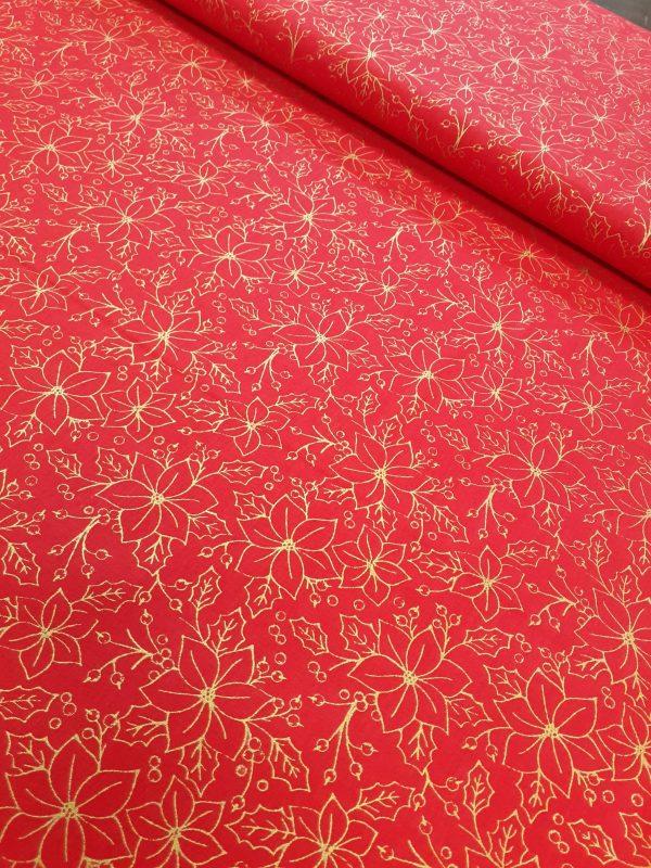 tissu coton imprimé BIO et OEKOTEX motifs NOEL ROUGE ET OR