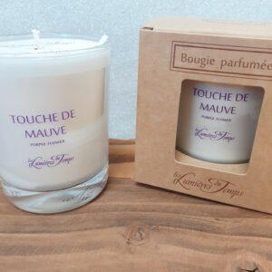 bougie parfumée Les Lumières du Temps en 180gr, Senteur Touche de Mauve