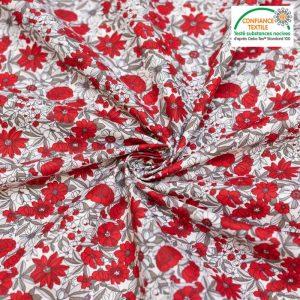 tissu cretonne en coton imprimé garanti Oeko-Tex REF APOLLINE COLORIS GRIS ET ROUGE