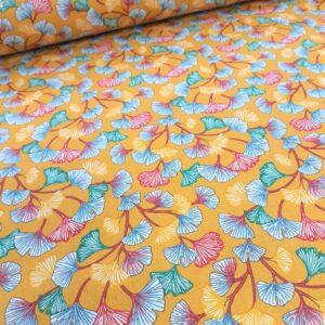 tissu cretonne en coton imprimé garanti Oeko-Tex REF APHRODITE COL MOUTARDE