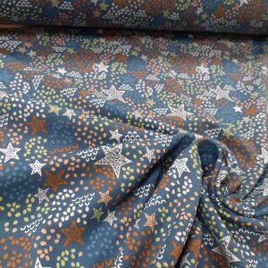 tissu coton jersey bio et oekotex coloris étoiles bleues