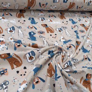 tissu coton jersey bio et oekotex coloris chiens fond beige