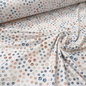 tissu coton jersey bio et oekotex coloris pattes de chiens fond blanc