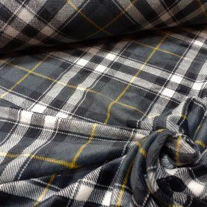 tissu polaire carreaux écossais coloris bleu et gris