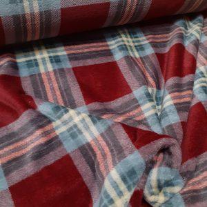 tissu polaire carreaux écossais coloris rouge bordeaux et gris