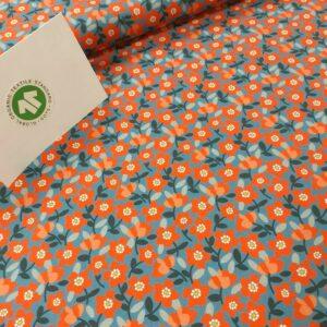tissu coton imprimé BIO et OEKOTEX motifs FLEURETTES COQUELICOTS ROUGES