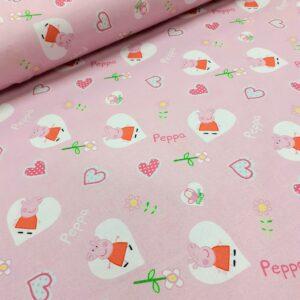 tissu coton imprimé BIO et OEKOTEX motifs enfantin PEPPA PIG LICENCE