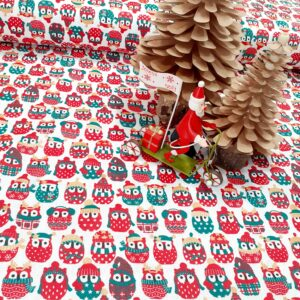 tissu cretonne en coton imprimé garanti Oeko-Tex REF mini hiboux coloris NOEL