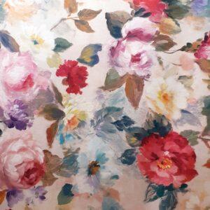 tissu ameublement Coton imprimé en largeur 140cm Style Anglais Motifs Roses Antiques