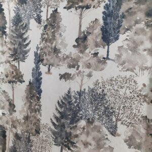 tissu ameublement imprimé en grande largeur Style Aquarelle Motifs arbres coloris Gris Noir