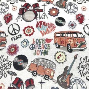 tissu d'ameublement jacquard en grande largeur motifs MiniVans Combi Peace and Love